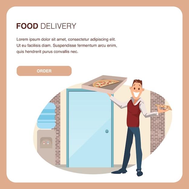 Glücklicher mitarbeiter hold carton pizza box am arbeitsplatz Premium Vektoren