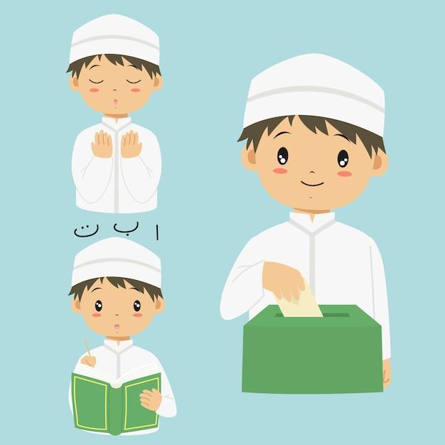 Glücklicher moslemischer junge, der quran liest, sadaqah oder wohltätigkeit betet und gibt Premium Vektoren