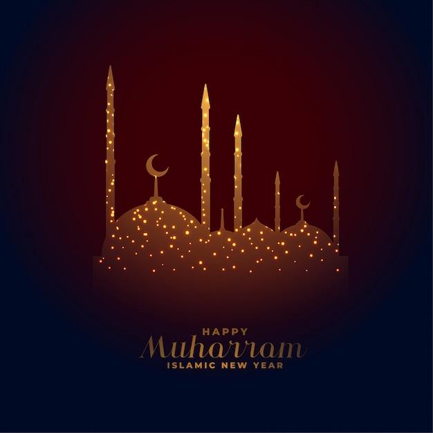 Glücklicher muharram hintergrund der eleganten glühenden moschee Kostenlosen Vektoren
