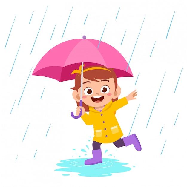 Glücklicher netter kindermädchenspiel-abnutzungsregenmantel Premium Vektoren