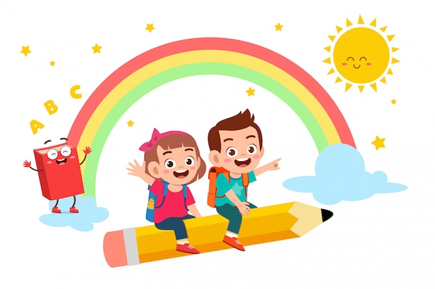 Glücklicher netter kleinkindjunge und -mädchen gehen zur schule Premium Vektoren