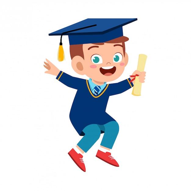 Glücklicher netter kleinkindjungenabsolvent von der schule Premium Vektoren