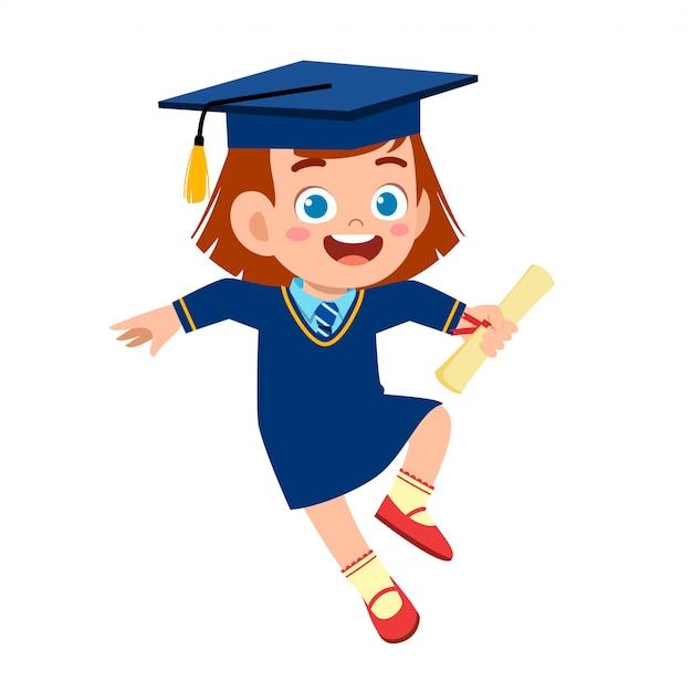 Glücklicher netter kleinkindmädchenabsolvent von der schule Premium Vektoren