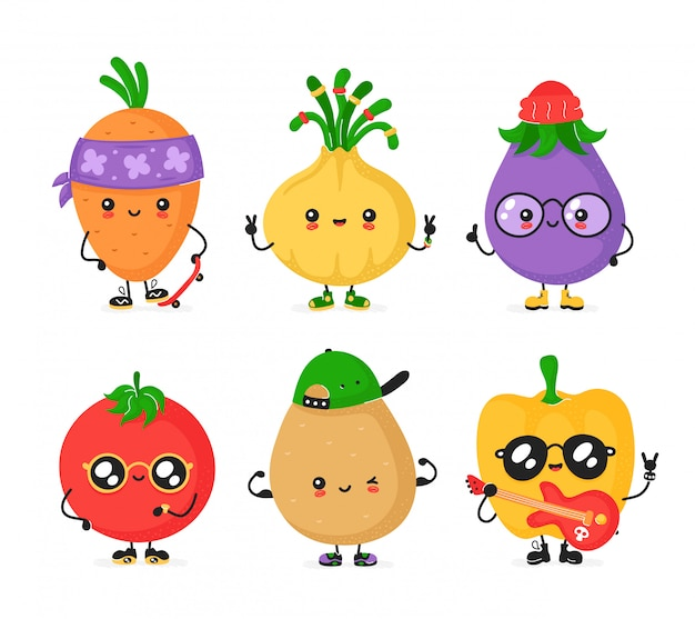 Glücklicher netter lächelnder vegerable satz. flache cartoon trendigen stil charakter sammlung. Premium Vektoren