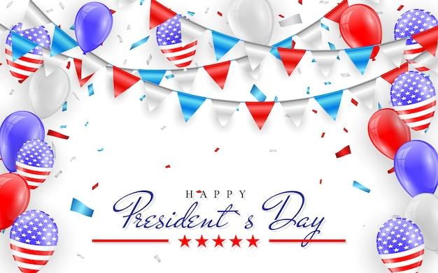 Glücklicher präsidententag. hängende ammerflaggen für amerikanische feiertagskarte. amerikanische flaggenballons mit konfetti-hintergrund. Premium Vektoren
