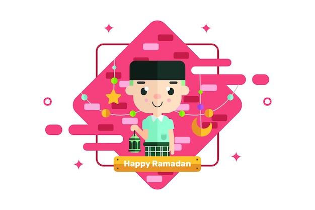 Glücklicher ramadan-gruß Premium Vektoren