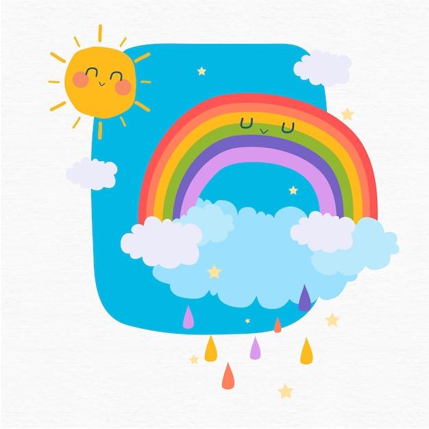 glücklicher regenbogen und sonne am himmel  kostenlose vektor