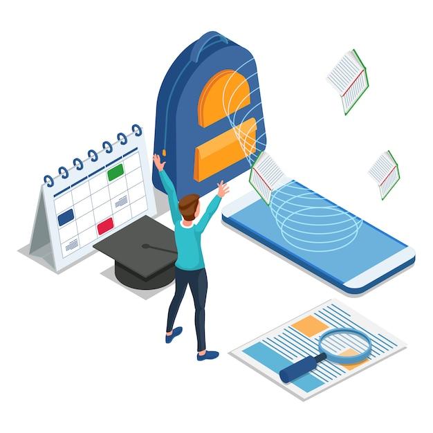 Glücklicher schülerzugang e-learning im handy. isometrische bildung zurück zur schule illustration. vektor Premium Vektoren