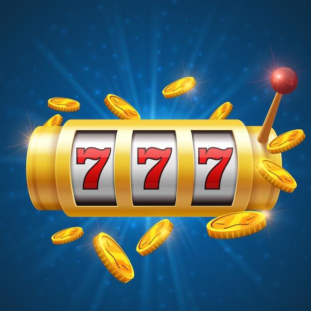 Glücklicher spielender vektorhintergrund des spielers mit spielautomat. casino jackpot-konzept Premium Vektoren