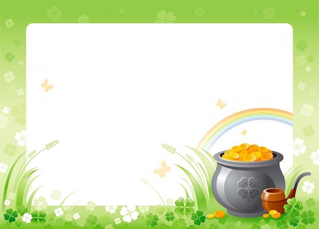 Glücklicher st. patrick's day mit grünem kleeblattkleerahmen, regenbogen und goldschatz Premium Vektoren
