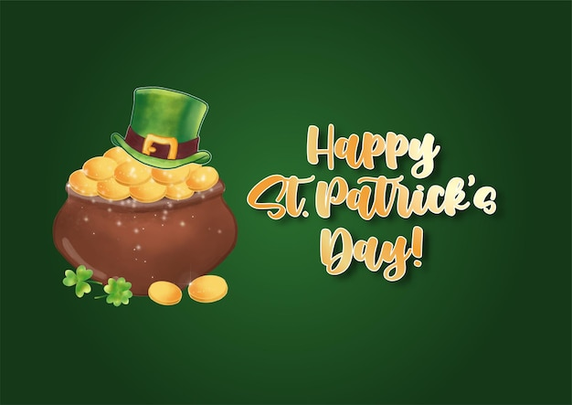 Glücklicher st. patrick's day mit kunsttext und st.patrick's symbol auf grün Premium Vektoren