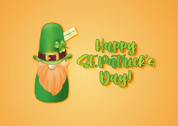 Glücklicher st. patrick's day mit st.patrick's doll und grünem hut auf orange Premium Vektoren