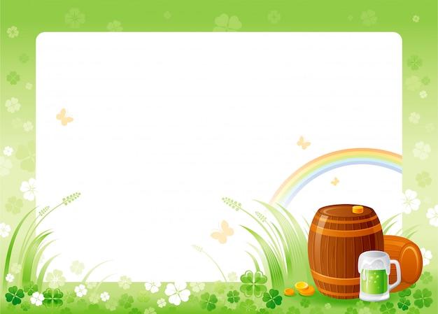 Glücklicher st. patrick's tag mit grünem kleeblattkleerahmen, regenbogen, grünem bierglas und fässern. Premium Vektoren