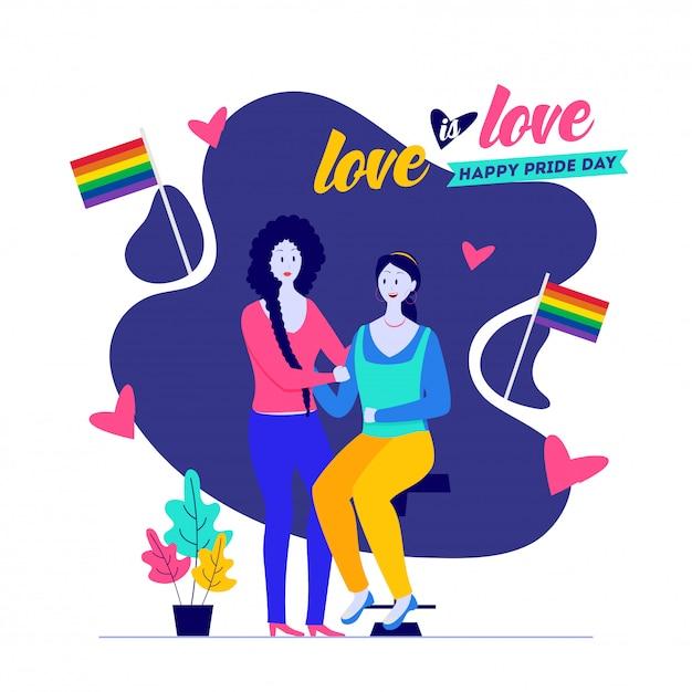 Glücklicher stolz-tag, liebe ist liebeskonzept mit lesbischen paaren mit freiheitsflaggen. Premium Vektoren
