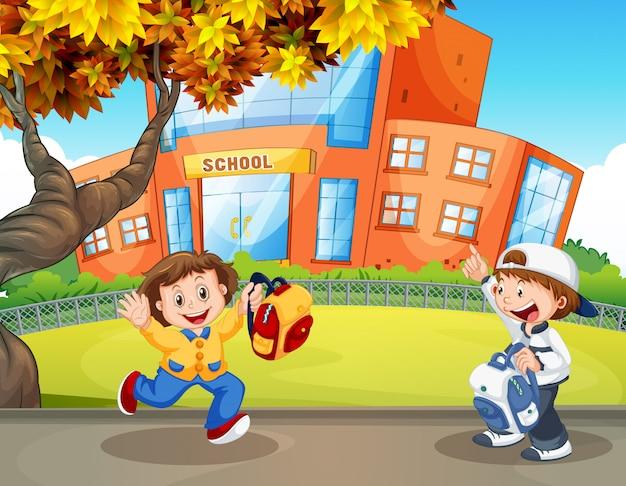 Glücklicher student in der schule Kostenlosen Vektoren