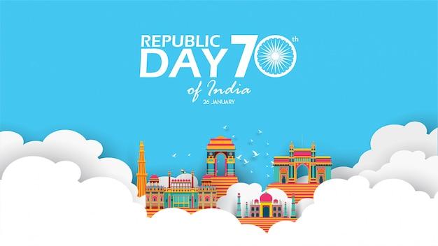 Glücklicher tag der indischen republik Premium Vektoren