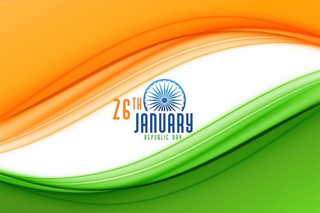 Glücklicher tag der republik von indien-flaggenhintergrund Kostenlosen Vektoren