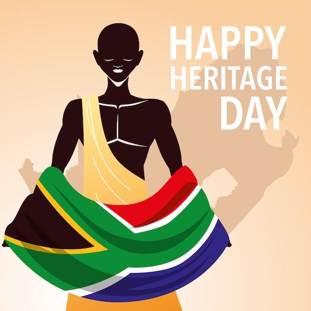 Glücklicher tag des erbes, afrikaner feiern ihre kultur und die vielfalt ihrer überzeugungen und traditionen illustration Premium Vektoren