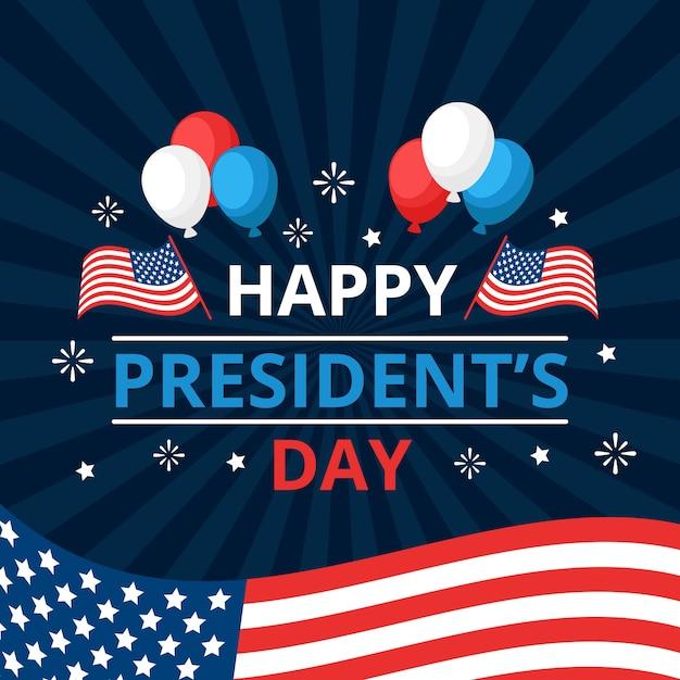 Glücklicher tag des präsidenten mit ballonen und flaggen Kostenlosen Vektoren