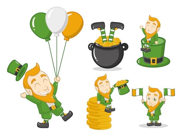 Glücklicher tag st. patricks, kobold mit irischen gegenständen Kostenlosen Vektoren