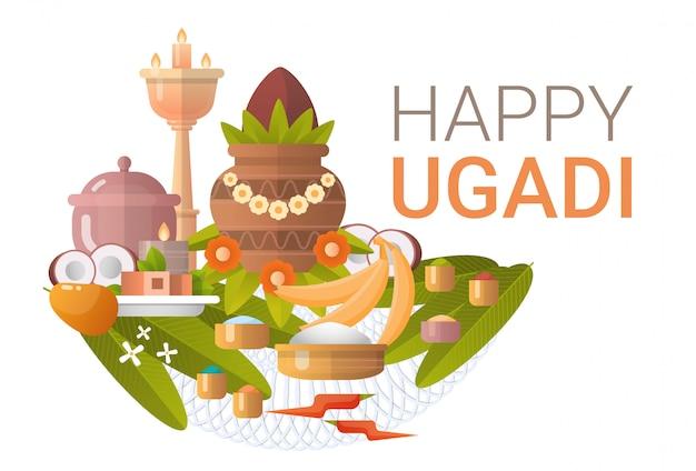 Glücklicher ugadi und gudi padwa hindu new year greeting card holiday Premium Vektoren