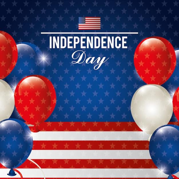 Glücklicher unabhängigkeitstag, am 4. juli feier in den vereinigten staaten von amerika Kostenlosen Vektoren