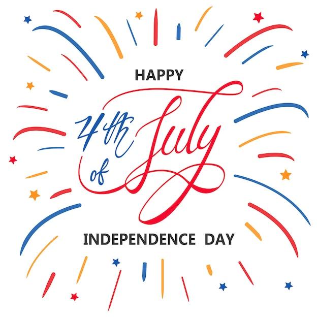 Glücklicher unabhängigkeitstag oder 4. juli Premium Vektoren