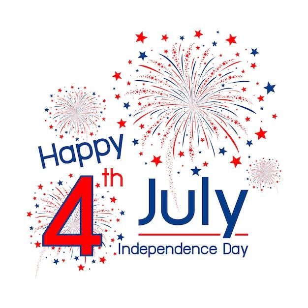 Glücklicher unabhängigkeitstag usa am 4. juli Premium Vektoren