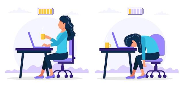 Glücklicher und erschöpfter weiblicher büroangestellter, der am tisch mit voller und schwacher batterie sitzt. Premium Vektoren
