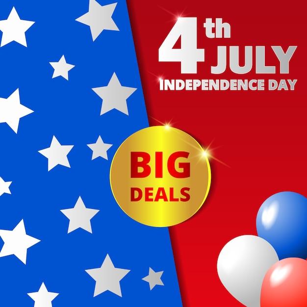 Glücklicher usa-unabhängigkeitstag, juli 4.. Premium Vektoren