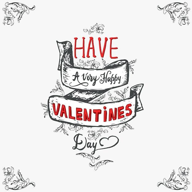 Glücklicher valentinsgruß-tagesbeschriftungsweinlese, der karte feiert. Kostenlosen Vektoren