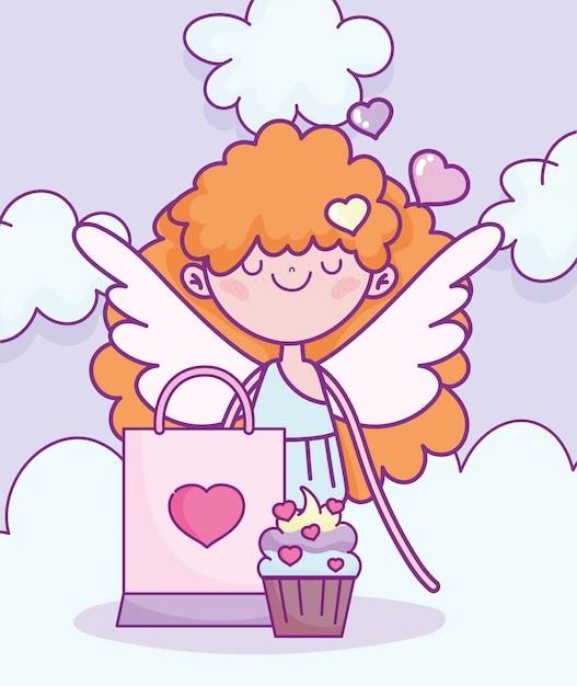 Glücklicher valentinstag, amor mit cupcake und tasche geschenk vektor-illustration Premium Vektoren