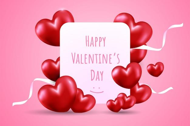 Glücklicher valentinstag auf weißer karte mit viel rotem herzformballon und weißen bändern auf rosa steigungshintergrund. Premium Vektoren