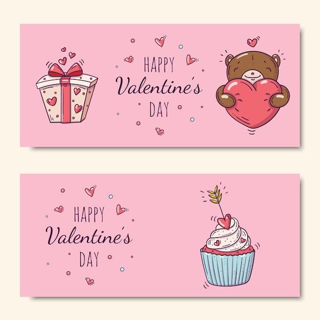 Glücklicher valentinstag gesetzt mit cupcake verziert mit pfeil und teddybär und geschenkbox im gekritzelstil Premium Vektoren