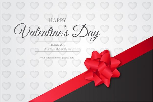 Glücklicher valentinstag-hintergrund mit rotem band Kostenlosen Vektoren