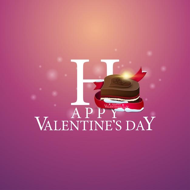 Glücklicher valentinstag - logo mit süßigkeiten Premium Vektoren