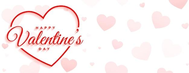 Glücklicher valentinstag minimales weißes banner Kostenlosen Vektoren