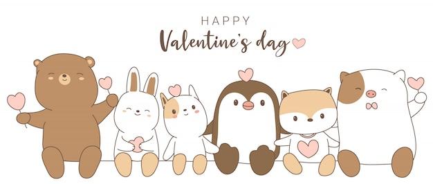 Glücklicher valentinstag mit gezeichneter art der netten tierkarikatur hand Premium Vektoren