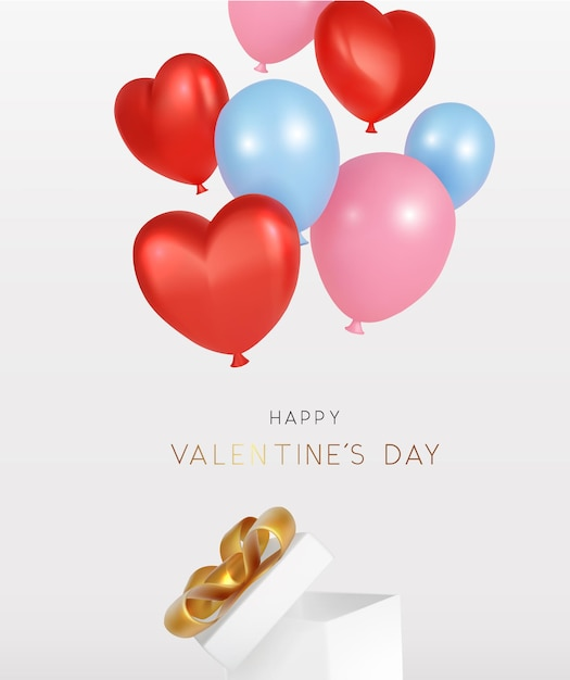 Glücklicher valentinstag mit offener geschenkbox und fliegendem ballon realistisch Premium Vektoren