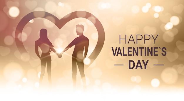 Glücklicher valentinstag mit paar-griff überreicht goldenes unschärfe-glänzendes licht bokeh Premium Vektoren