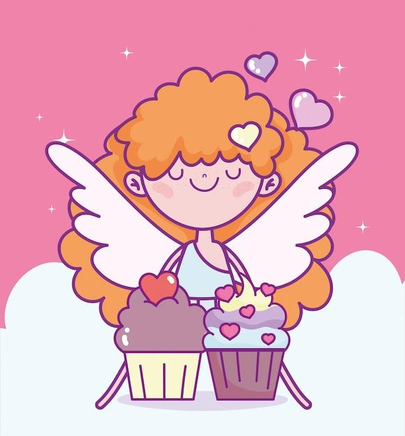 Glücklicher valentinstag, niedlicher amor mit süßen cupcakes lieben cartoon-vektorillustration Premium Vektoren