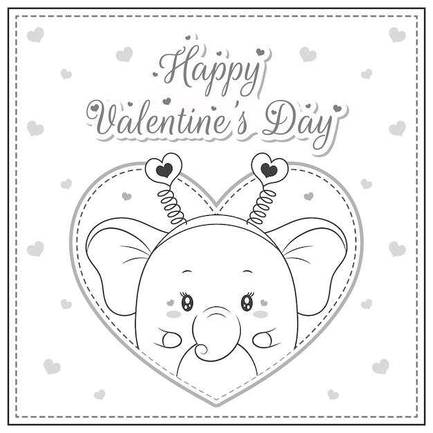 Glücklicher valentinstag niedlicher elefant, der postkarte großes herzskizze für färbung zeichnet Premium Vektoren
