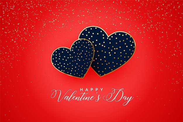 Glücklicher valentinstag zwei funkelt herzkarte Kostenlosen Vektoren