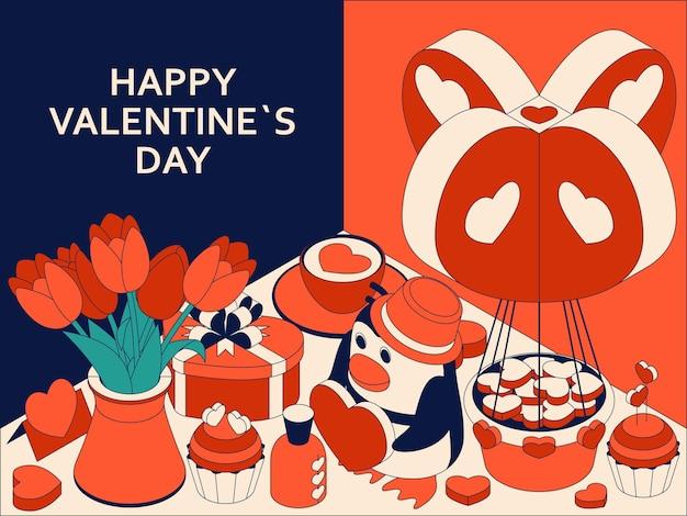 Glücklicher valentinstaghintergrund mit niedlichen isometrischen elementen. grußkarte und liebesschablone Premium Vektoren
