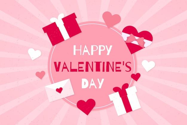Glücklicher valentinstaghintergrund mit rosa geschenken Kostenlosen Vektoren