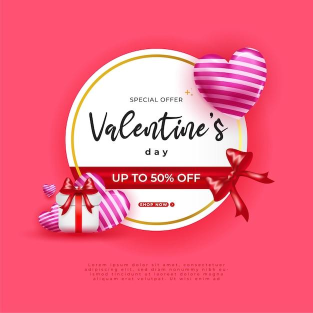 Glücklicher valentinstagverkauf mit 3d ballonherzen und geschenkbox auf rosa hintergrund. Premium Vektoren