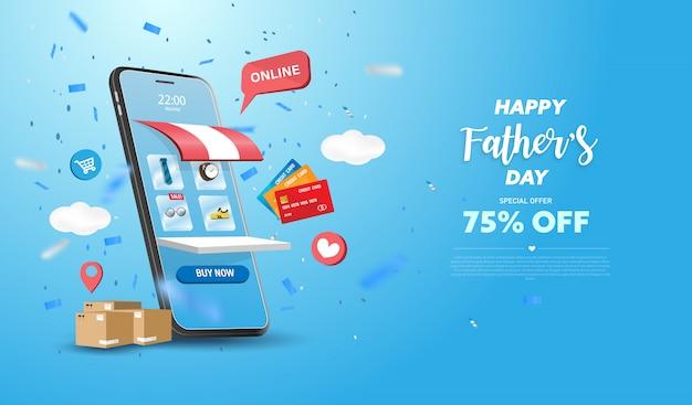 Glücklicher vatertags-verkaufsfahne oder förderung auf blauem hintergrund. online-shopping-shop mit handy, kreditkarten und shop-elementen Premium Vektoren
