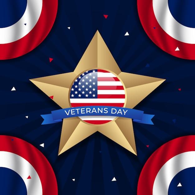 Glücklicher veteranentag mit goldener stern- und kreisflagge Premium Vektoren