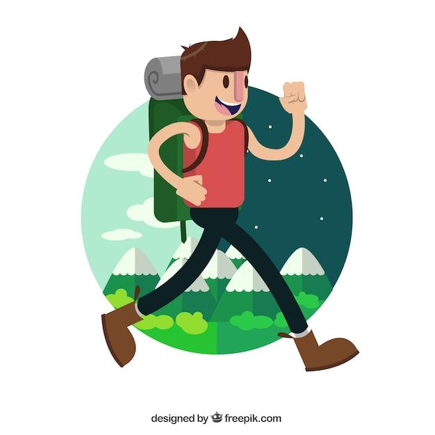 Glücklicher wanderer rund um die welt zu reisen Kostenlosen Vektoren