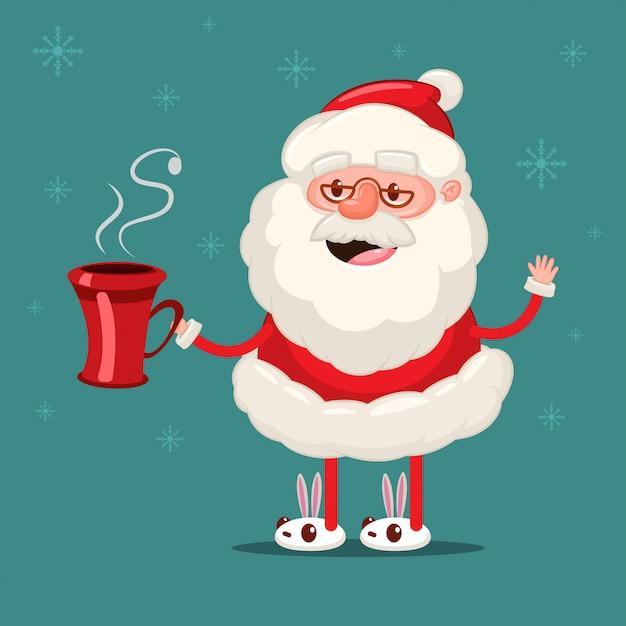 Glücklicher weihnachtsmann mit roter kaffeetasse. vektorweihnachtszeichentrickfilm-figur lokalisiert auf schneeflocken Premium Vektoren